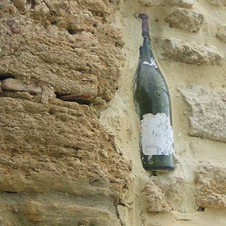 Chateauneuf-du-Pape bottle embedded in wall