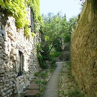 Provencal path between ancient walls